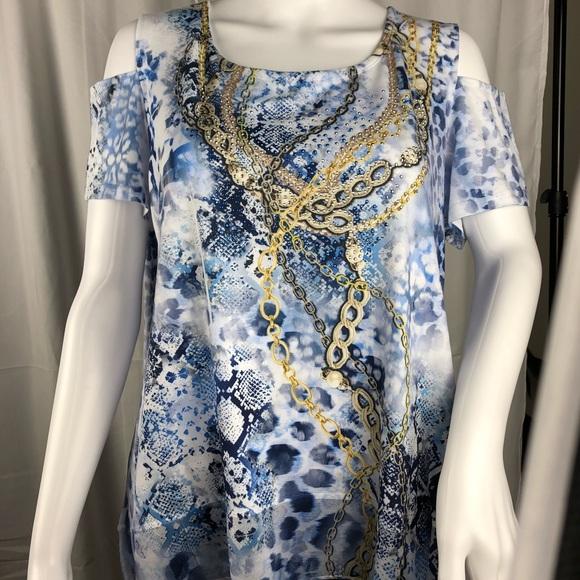 6414f0549288bb JM Collection Petite Embellished Cold Shoulder Top